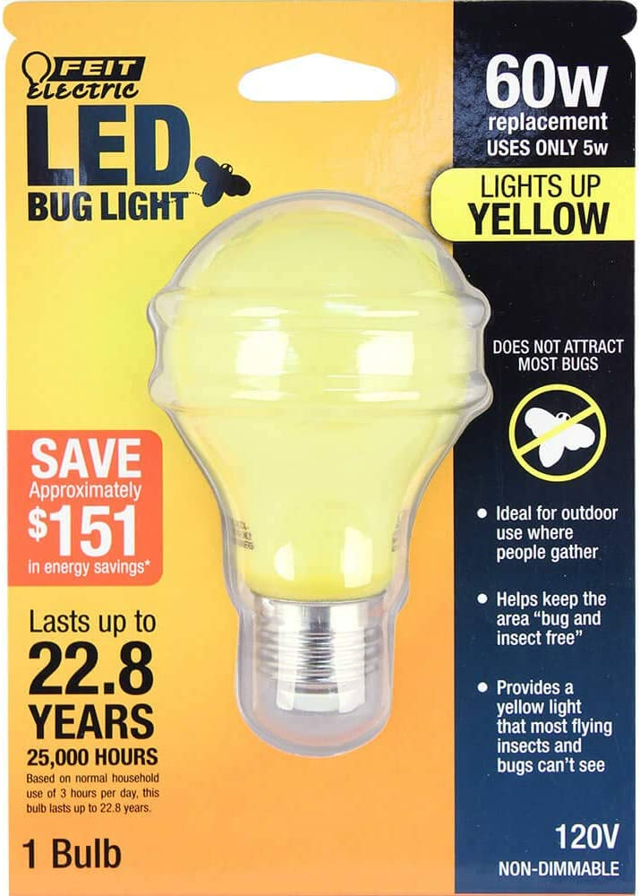 "FEIT Electric A19/BUG/LED Non-Dimmable Led Bug Light, 5 W, 120 V, 400 Lumens, 2.35 In Dia, 4"" H x D, Yellow"