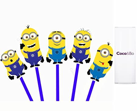 10 X Cocou0026Bo   CLEARANCE Minion Cupcake Toppers   Minions Inspired Despicable  Me 2 Bob Kevin
