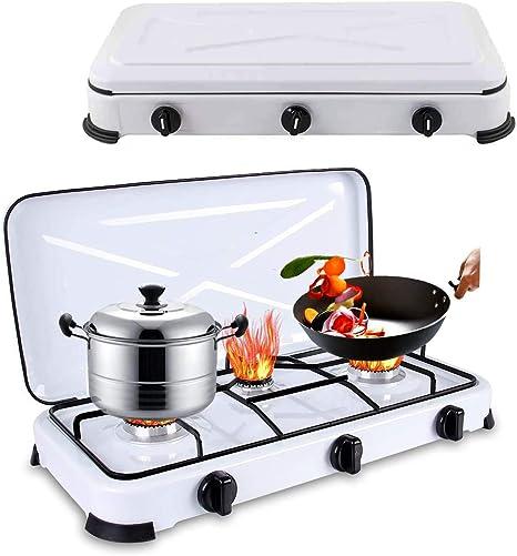 Qdreclod Estufa de gas portátil para camping, 3 quemadores, estufa de propano, 59 x 32 x 9 cm, cocina de gas