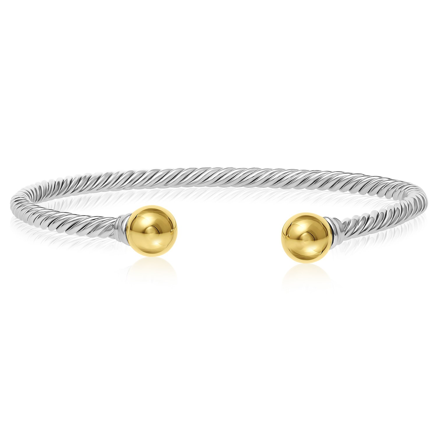 Unique Royal Jewelry Solid 925 Twisted Black Antique Finish Sterling Silver and 14k Solid Gold 2-Ball Cuff Bracelet (Size 7)