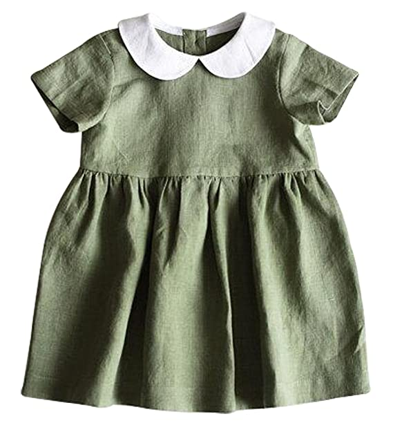 BANGELY Toddler Girls Turn Down Collar Short Sleeve Ruffle Pleated Dress  Princess Party Tutu Dresses Size 297bd82fdc6f