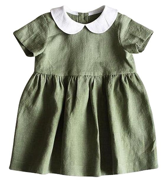c2e8217b695e Amazon.com  BANGELY Toddler Girls Turn Down Collar Short Sleeve Ruffle  Pleated Dress Princess Party Tutu Dresses  Clothing