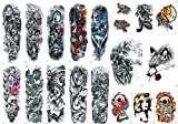 Nutrition Bizz Extra Large Temporary Tattoos Full Half Arm Tattoo Sleeves 18 Sheets for Men Women Teen Fake Tattoo Biker Tattoo Waterproof Stickers for Arms Shoulders Chest & Back