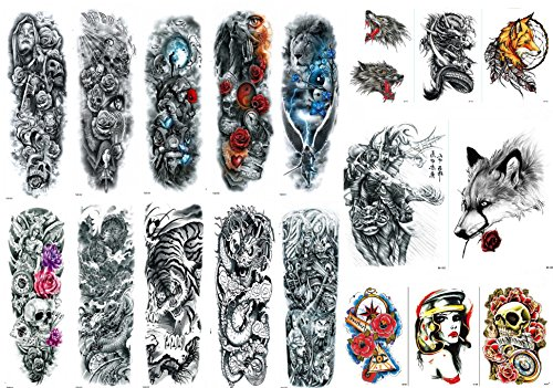 Nutrition Bizz Extra Large Temporary Tattoos Full Half Arm Tattoo Sleeves 18 Sheets for Men Women Teen Fake Tattoo Biker Tattoo Waterproof Stickers for Arms Shoulders Chest & -