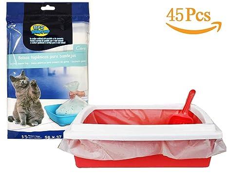 BPS® 45 Bolsas para Bandeja Arena Bolsa Caca Excrementos para Gatos Mascotas, Bolsa de