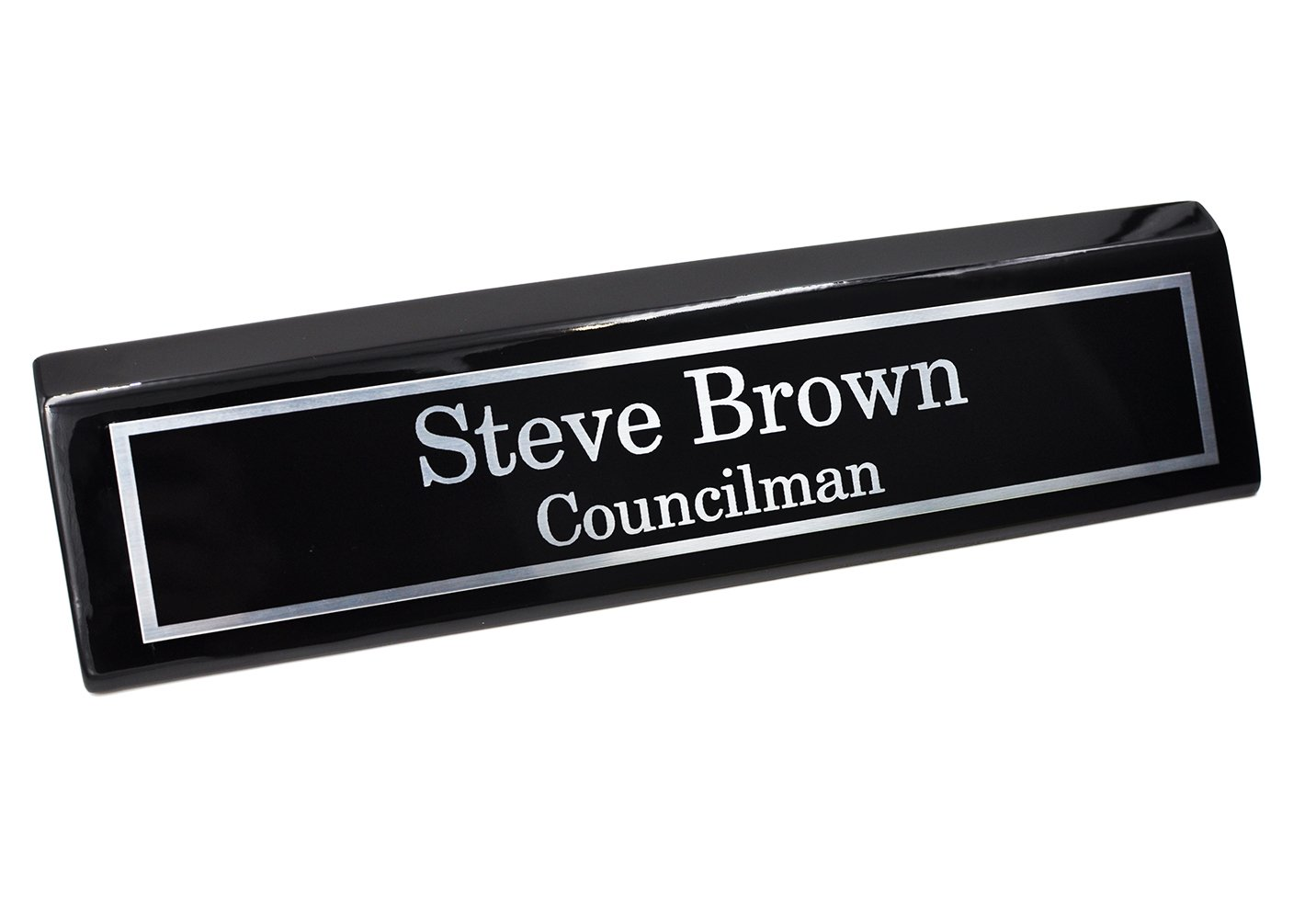 Custom Desk Name Plate | Silver Aluminum Plate on Black Wedge with Piano Finish | Custom Name Wedge | Personalized Black Desk Wedge by Holmes Stamp & Sign