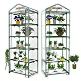 Utheing 5 Tier Greenhouse Shelf with PVC Cover for Outdoor Indoor Garden Plants