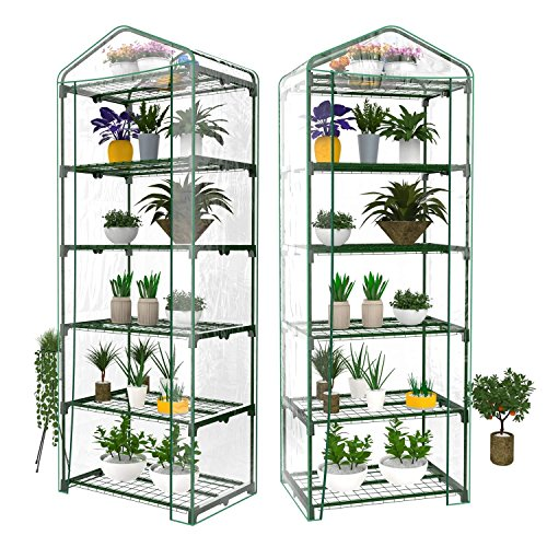Kaluo 5 Tier Freestanding Mini Greenhouse Growhouse with Reinforced PVC Cover Rack for Plants by Kaluo