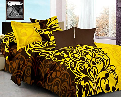 HOME ELITE Floral Printed 100% Cotton Double Bedsheet with 2 Pillow Covers , Multicolor