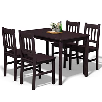 Giantex 5 Piece Wood Dining Table Set 4 Chairs Solid Construction Home  Kitchen Breakfast Furniture (Brown)