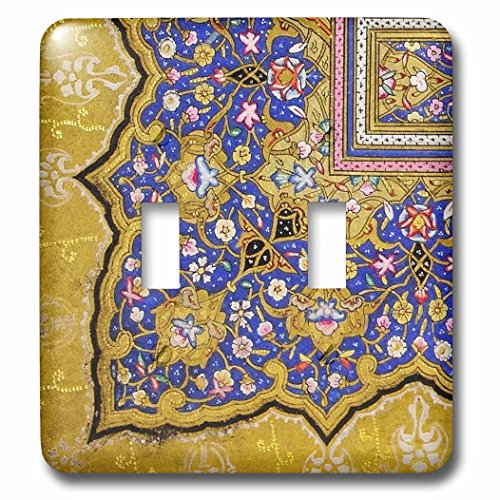 3dRose lsp_162530_2 Purple and Matte Gold Arabian Floral Pattern Persian Style Flowers and Swirls Arab Islamic Turkish Light Switch Cover