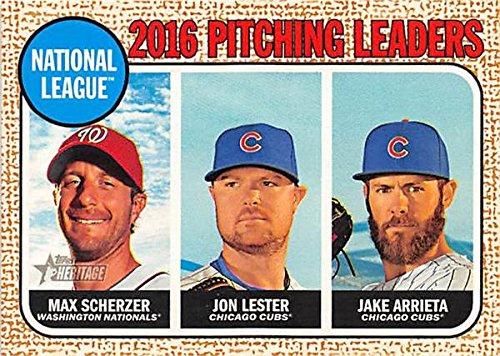 Max Scherzer Jon Lester Jake Arrieta baseball card (Nationals Cubs Pitchers) 2017 Heritage #9 Wins Leaders ()