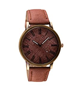 Clearance! Charberry Mens Watch Retro Vogue Cowboy Leather Band Analog Quartz Watch (Brown)