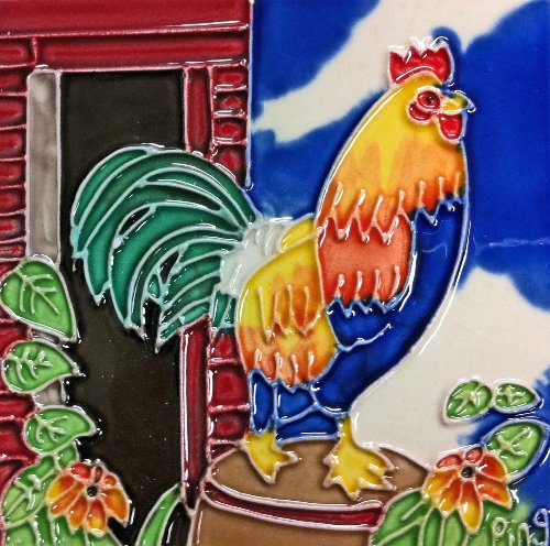 Continental Art Center SD-028 4 by 4-Inch Rooster No.2 Ceramic Art Tile (Rooster Box Tile)