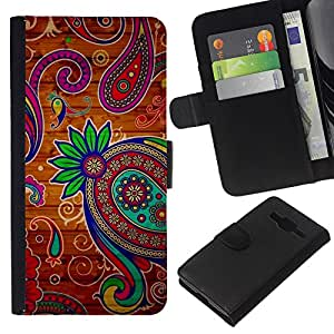 KingStore / Leather Etui en cuir / Samsung Galaxy Core Prime / Diseño floral de oro del trullo Nativo;