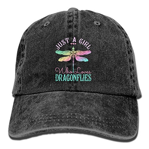 Just A Girl Who Love Dragonfly Denim Hat Adjustable Fitted Baseball Hats