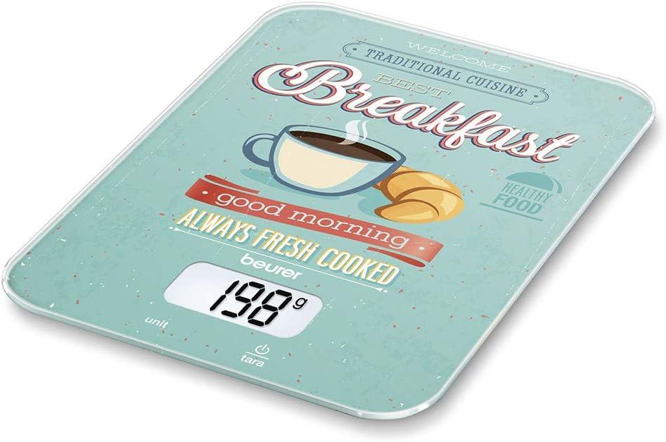 Beurer KS19 - Balanza de Cocina Desayuno, medicíón 5 kg, 1 gr, pantalla LCD, botón táctil, vidrio de seguridad, auto tara, apagado automática, aviso sobrecarga