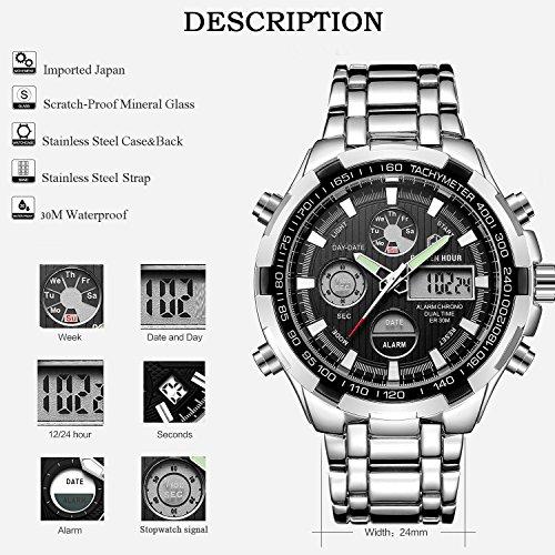 GOLDEN HOUR Luxury Stainless Steel Analog Digital Watches for Men Male Outdoor Sport Waterproof Big Heavy Wristwatch 4