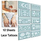 TAFLY Lace White Tattoo Waterproof Body Henna Transfer Tattoos Stickers for Women & Girls -150 Designs Bracelets,Necklaces,Tribe,Totem,Wing etc