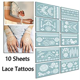 TAFLY Lace White Chains Tattoo Waterproof Body Henna Transfer Tattoos Stickers for Women & Girls -150 Designs Bracelets,Necklaces,Tribe,Totem,Wing etc