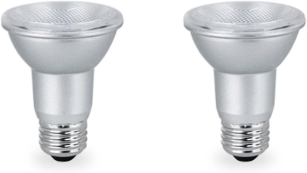 2 Pack Indoor//Outdoor Energy Star Certified 7 Watt LED PAR20 Dimmable Flood Light Bulb 120V 50W Equivalent 3000k Soft White 500 Lumens UL Listed