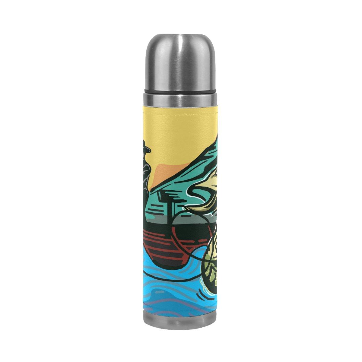 DragonSwordlinsu COOSUN - Botella de Agua Térmica de Acero Inoxidable para Pesca, con Aislamiento al Vacío, a Prueba de Fugas, Doble Botella de Vacío, Piel sintética, Taza Térmica de Viaje, 473 ML