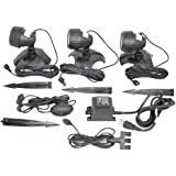 Jebao Underwater Waterproof Submersible Natural Three-Light LED Spotlight Aquarium Lamp Kit for Fountain Fish Pond, Water Garden, and Landscape Features, 9-watt