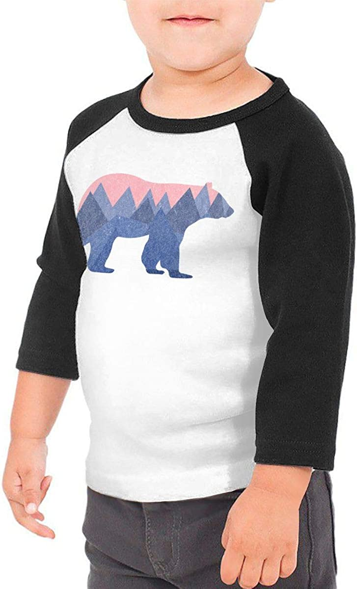 Kocvbng I Bear Mountain Raglan 3//4 Sleeve Tee for Girl Boys