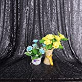 Black Sequin Backdrop 4FT x 6FT Photography Background Sparkling Sequin Fabric Photo Booth Backdrop Collapsible Video Studio Background Prop for Curtain/Wedding/Party/Prom/Other Event Decor