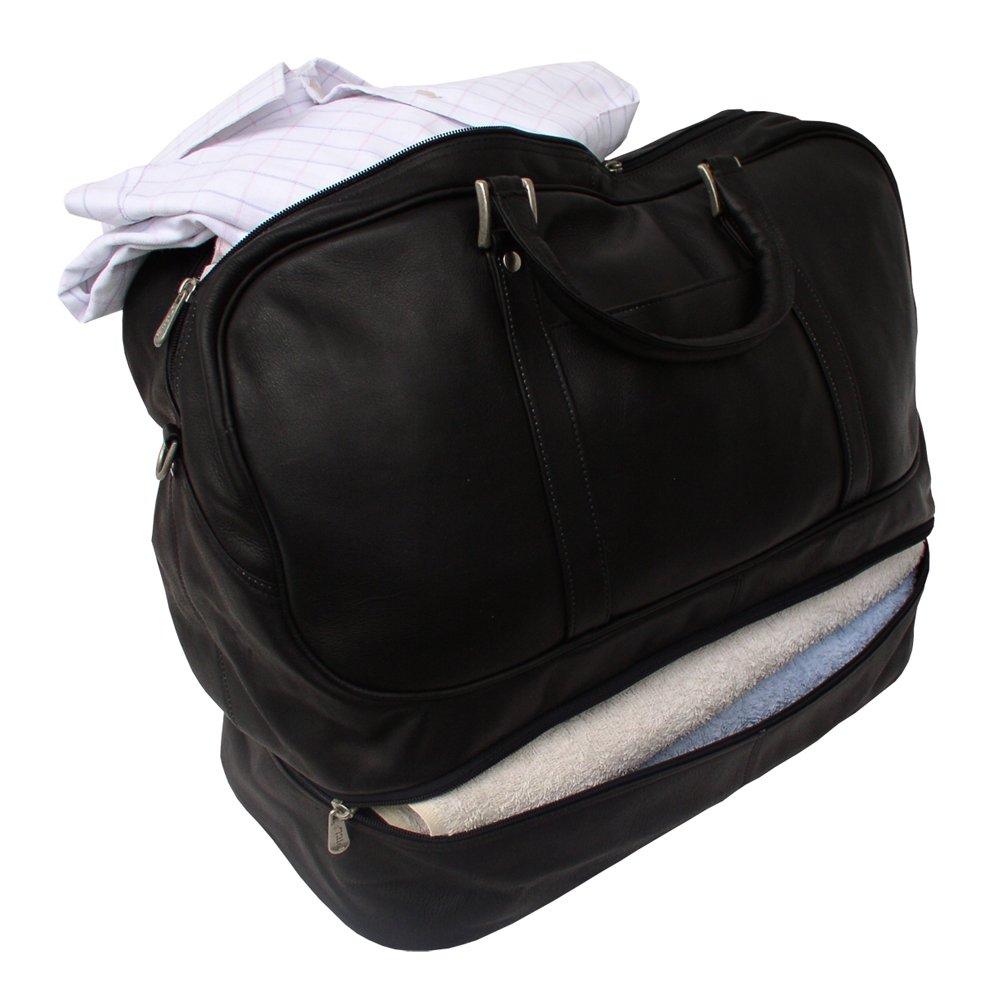 Piel Custom Personalized Leather Traveler False Bottom Sports Bag in Saddle Piel Leather CSTM-PL8965