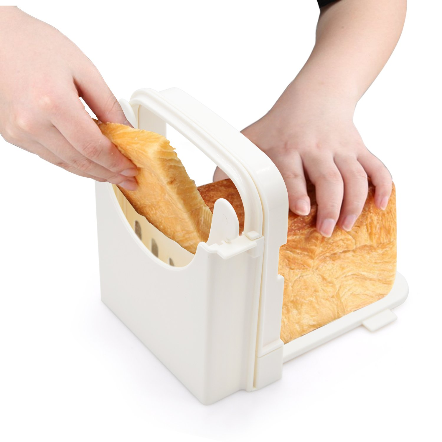Bread Slicer Toast Slicer Yummy Sam Toast Cutting Guide Bread Toast Bagel Loaf Slicer Cutter Mold Sandwich Maker Toast Slicing Machine Folding and Adjustable with 5 Slice Thicknesses by Yummy Sam (Image #3)