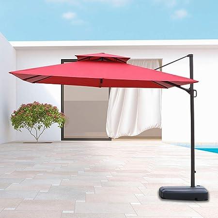 Sombrilla, 8 pies/con Sistema de manivela/Ajuste de inclinación/Base para terraza/jardín/Patio: Amazon.es: Hogar