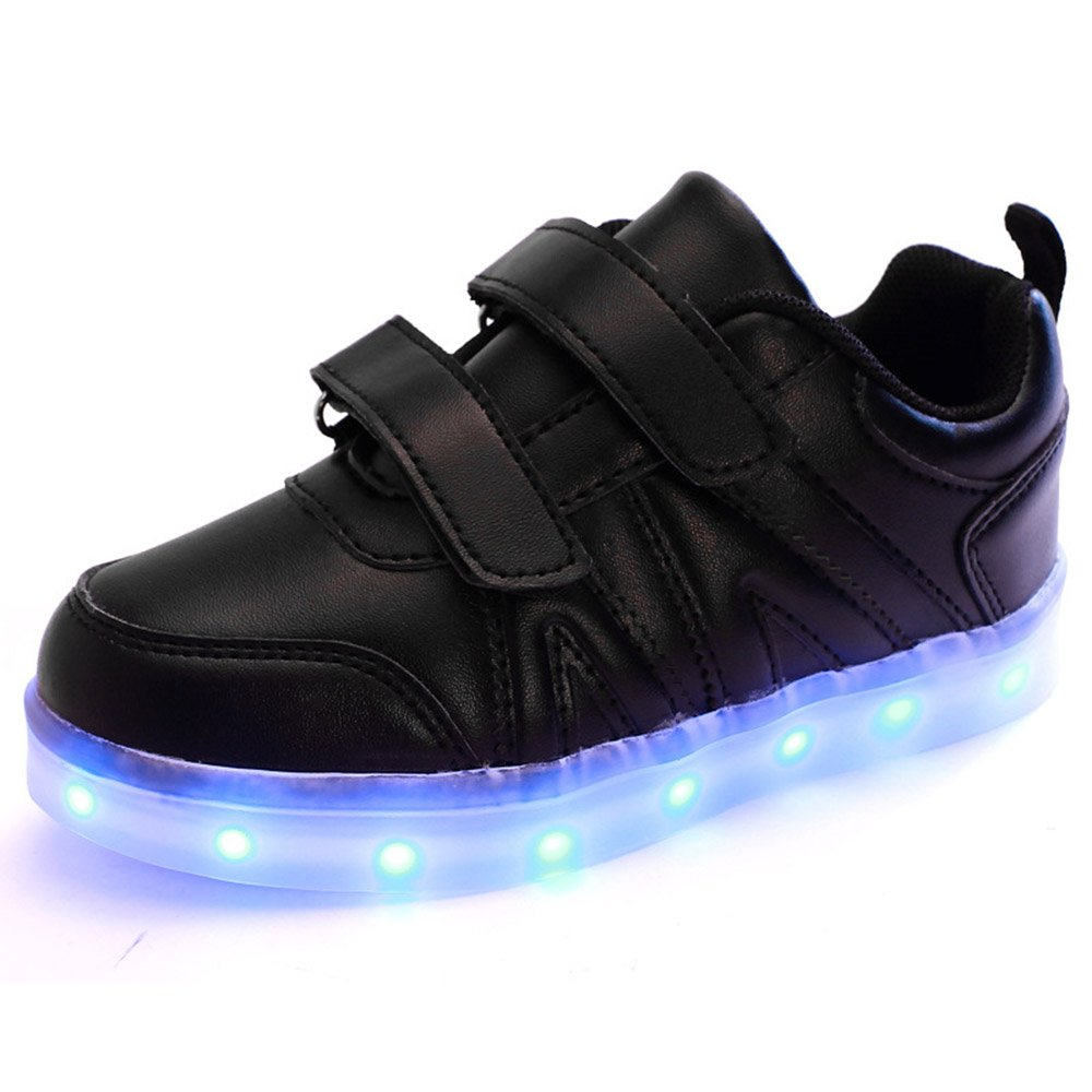 JIN USB Kid LED Light Shoes Girls And Boys Leisure Magic Sticks Silver Children Luminous Sports Sneakers (13.5, black)