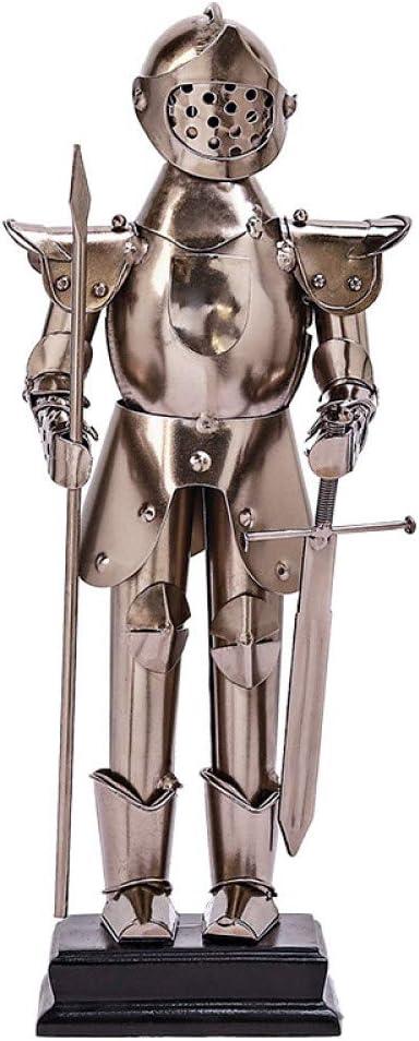 FENGJIAREN Estatuas,Estatuillas,Esculturas,Retro Europeo Soldado Romano Modelo Estatua De Metal De Hierro Escultura Artesanal Vintage Decoracion Bar Regalo De Cumpleaños para La Decoración del Hogar