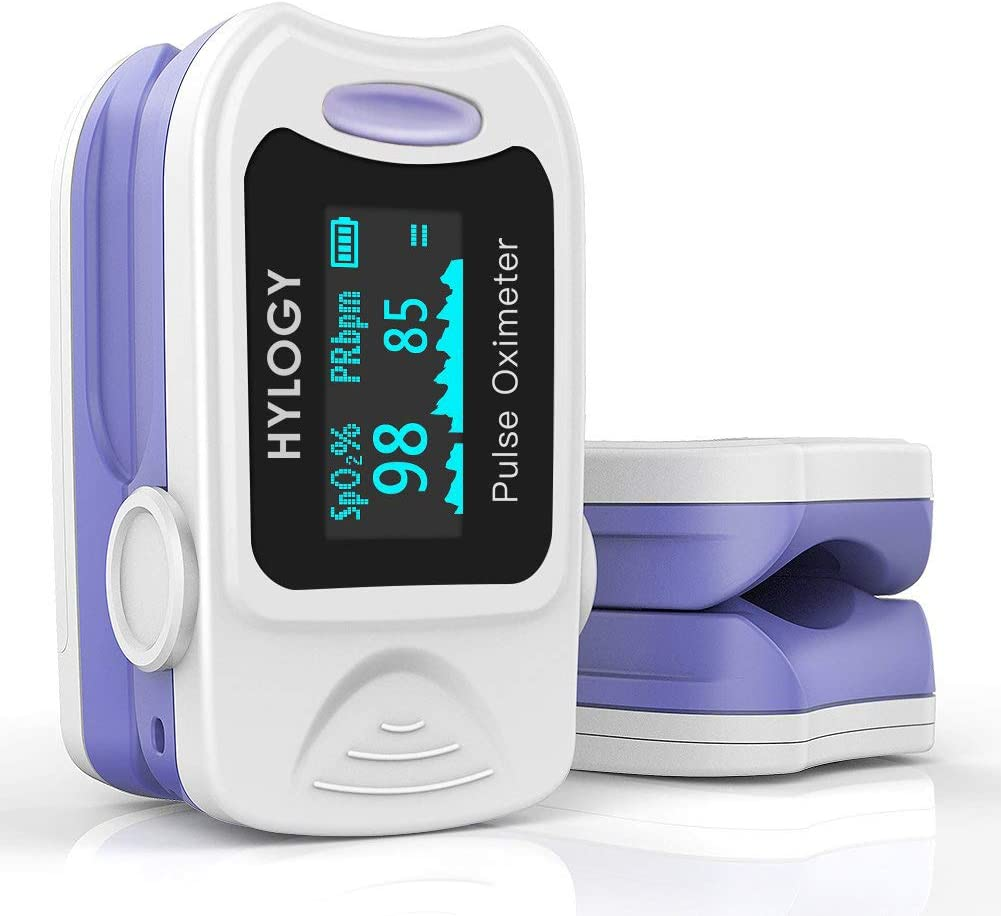 Oxímetro de Pulso, HYLOGY Pulsioxímetro de dedo, Portátil Pulsómetro Fácil de leer Pulsioxímetro de dedo Para el cuidado de la salud familiar (Blanco)