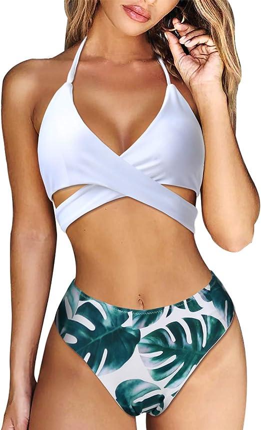 Women/'s Swimsuit Push Up Swimwear Bikini Set Halter Retro Beach Bathing Suits