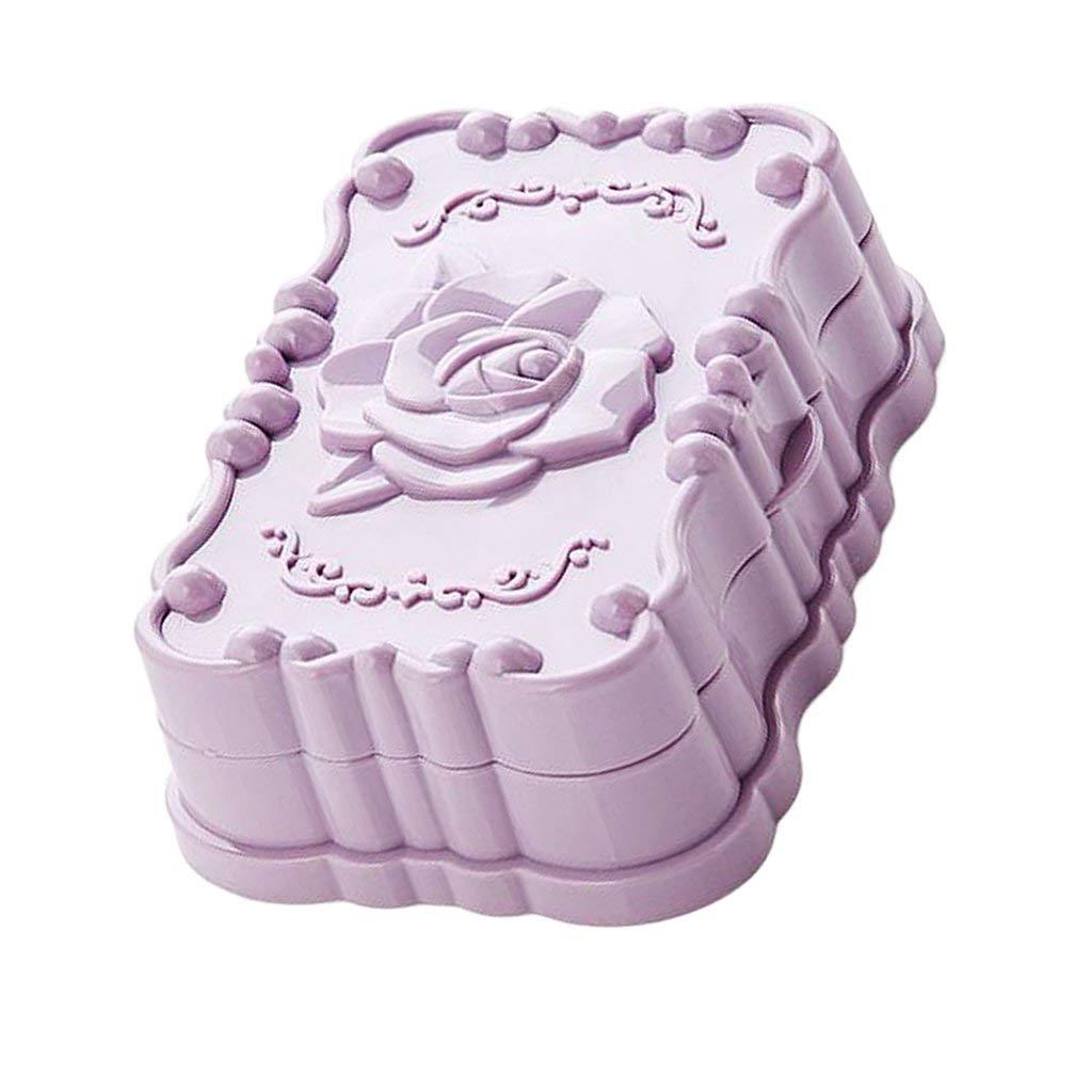 Romantische Rose Seifendosen Seifenschale Halter Kunststoff Badezimmer Toliet Dekor New - Blau, 13x9,5x4,5 cm Dusche Seifenkiste-Lagerung Seife (Farbe : Purple)
