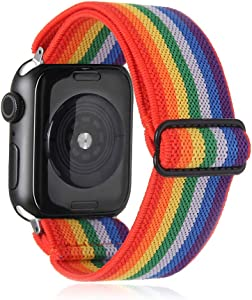 Elastic Watch Band Compatible with Apple Watch 38mm 40mm 42mm 44mm,Stretch Elastics Wristbelt Replacement Wristband for iWatch Series 5/4/3/2/1(Striped Rainbow,38MM/40MM)