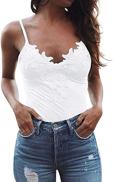 Camiseta de Tirantes Mujer, Camiseta Interior Encaje Tops Sexy Mujer Camiseta sin Mangas t-Shirt Camisa: Amazon.es: Ropa y accesorios