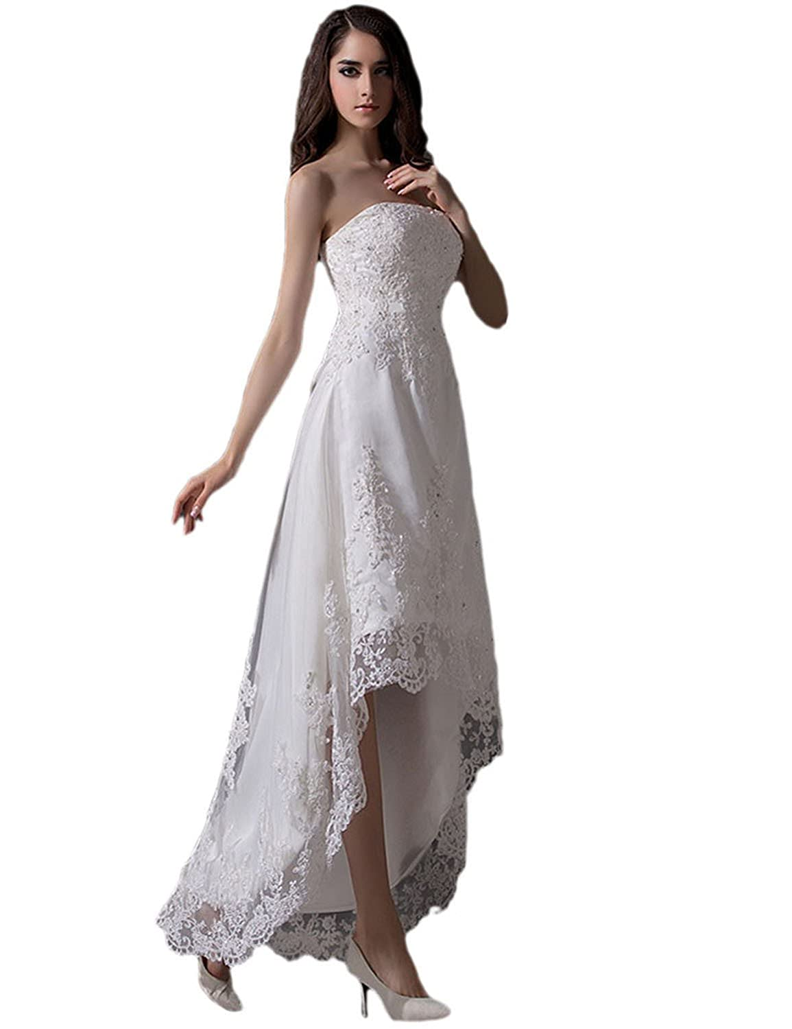 Ivory Vimans Women's 2019 High Low Strapless Beaded Lace Evening Party Dresses