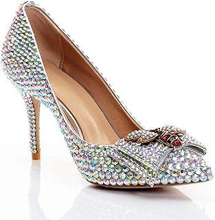 GLTER Femmes Pointu Chaussures de Mariage Mode Escarpins à Talons Hauts Cuir Couleur Diamant Arc/Princesse/Mariée/Sandales