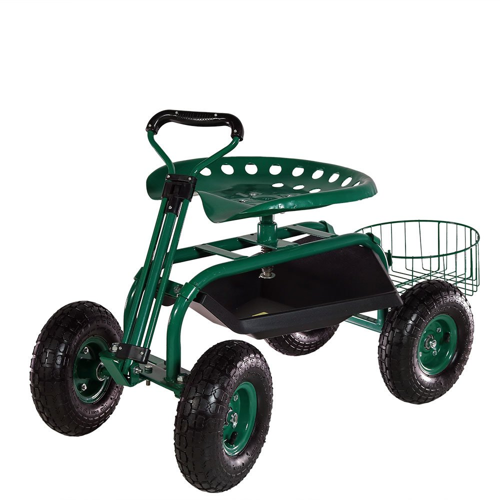 Sunnydaze Garden Cart Rolling Scooter with Extendable Steer Handle, Swivel Seat & Utility Tool Tray, Green