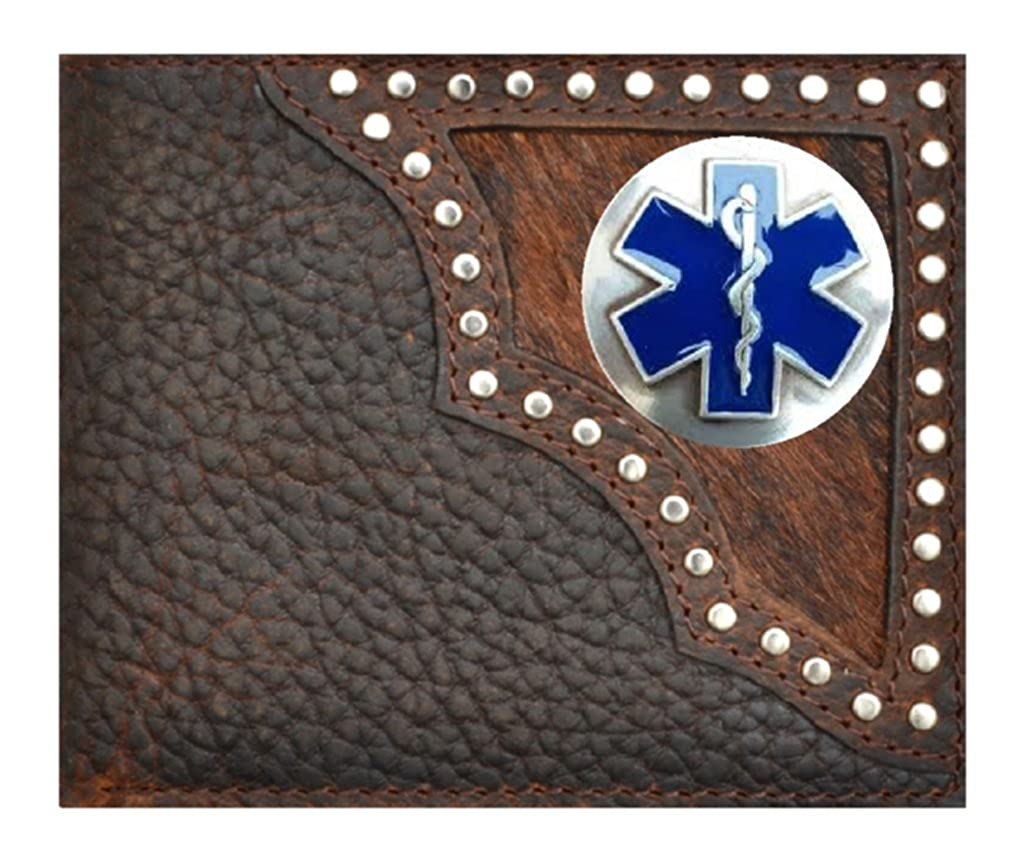 Custom EMT Cross of Life Bi-fold Wallet Hair on Hide Black EMS