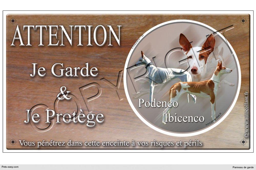 Panneau chien ou plaque Podenco-Ibicenco 20 cm COGESCO sarl
