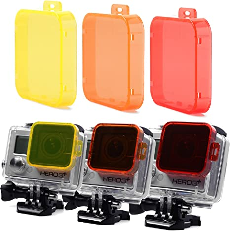 XCSOURCE? 3 Pack - Underwater Color Dive Filter Yellow Red Orange For Gopro HERO 3+ LF333: Amazon.es: Electrónica