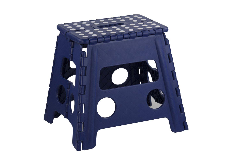 Home Basics FS49038-BLU Folding Kids Step Stool with Non-Slip Dots, Large, Blue