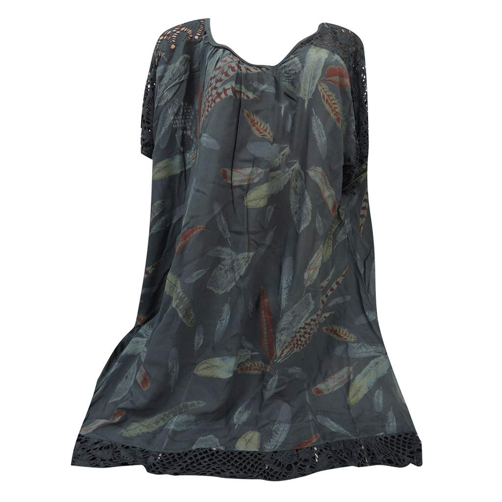 Mlide Women's Casual Short Sleeve Floral Dress O-Neck Print Patchwork Hollow Out Tops Shirt Blouse,Army Green L