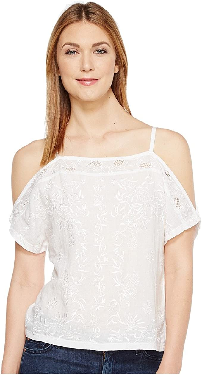 Lucky Brand Womens Off The Shoulder Embroidered Top