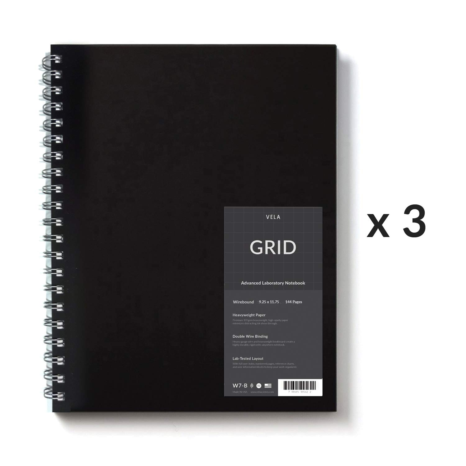 Vela Sciences Advanced Wirebound Lab Notebook, 9.25 x 11.75 inches, 144 Pages (3-Pack, Grid)