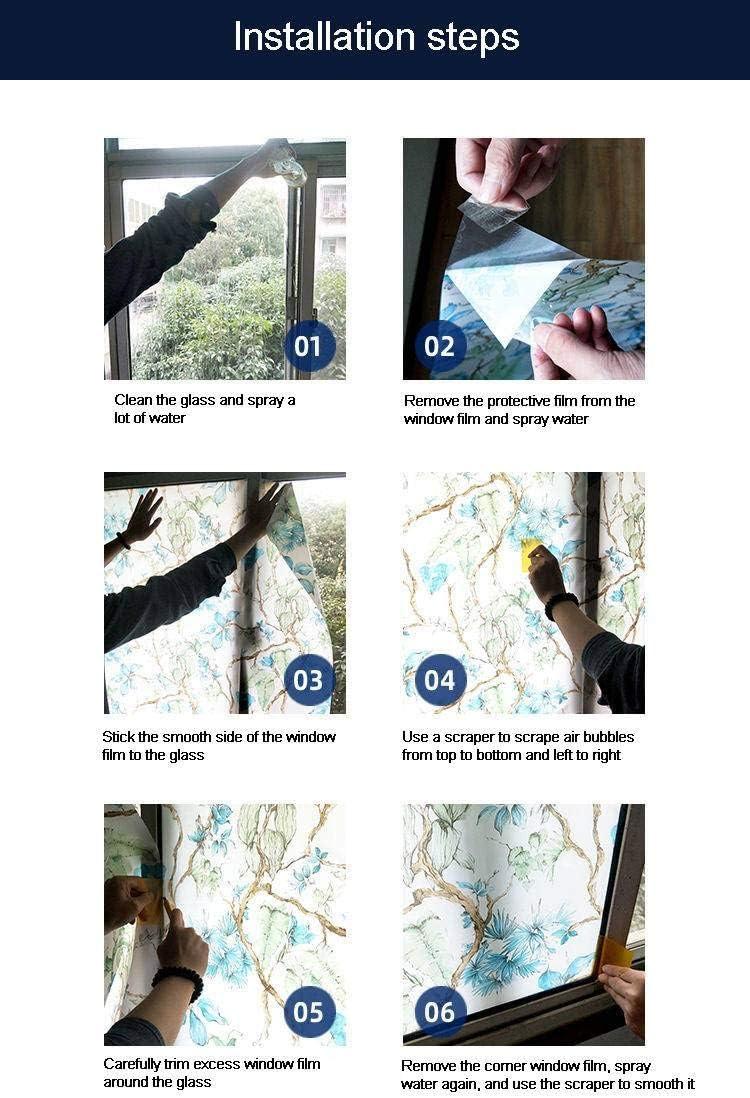 3D sans Colle Auto-adh/ésif Anti UV Intimit/é D/écoration Film Miroir Convient pour Salle De Bain Balcon Chambre Bureau-A-45X100cm 18X39pouce GOPG Electrostatique Film Fen/être